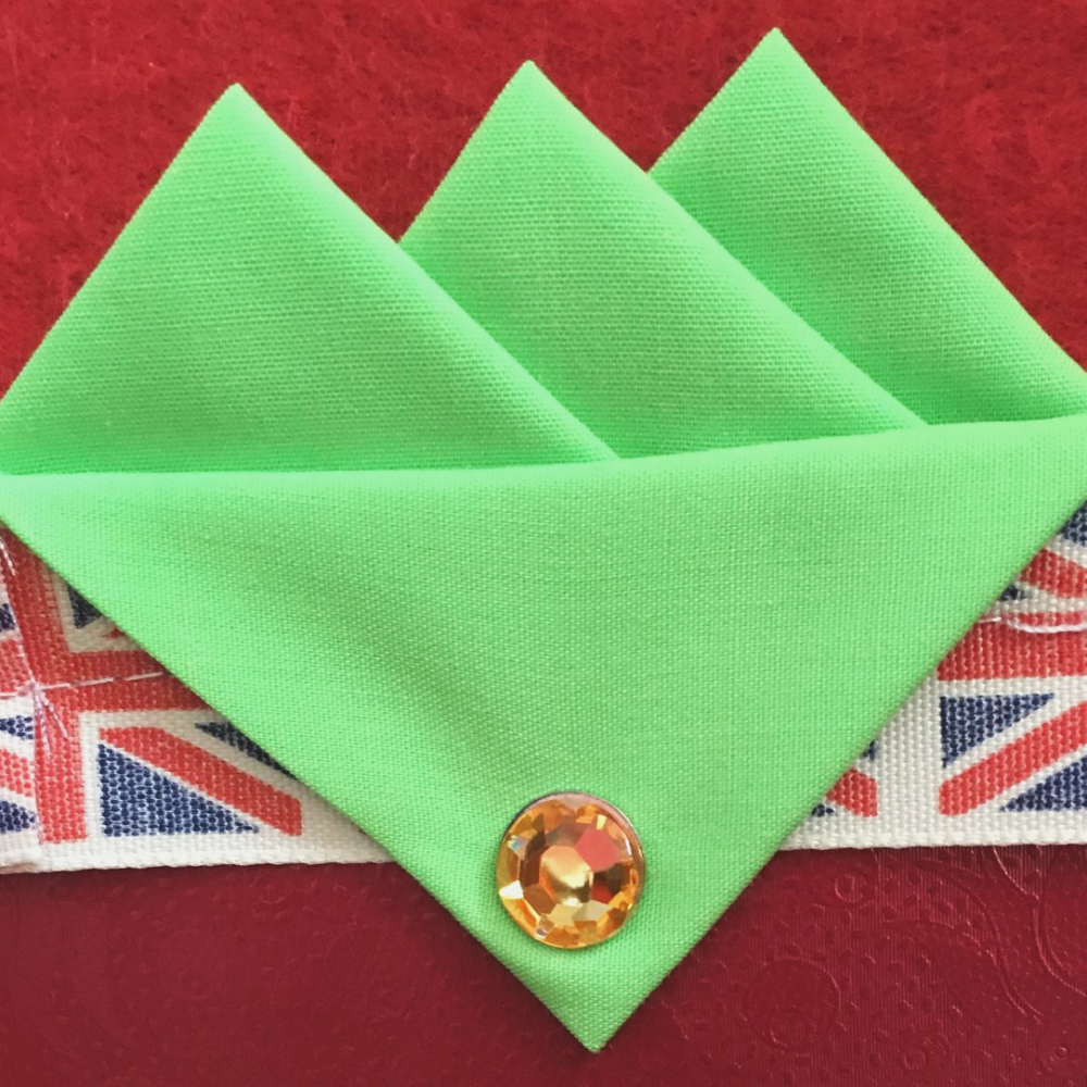 Green (Fluorescent Green) Three Point Pocket Hankie & Pin